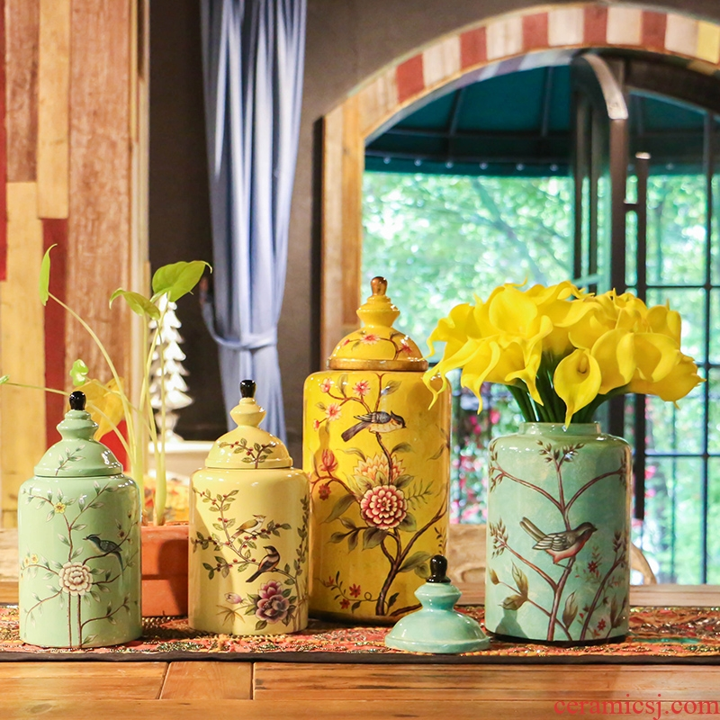 American rural handicraft painting of flowers and ceramic pot furnishing articles home wine ark, adornment example room decoration designer