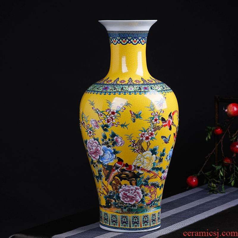 Modern Chinese jingdezhen ceramics sitting room adornment colored enamel of large vases, flower, TV ark, furnishing articles