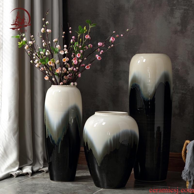 European modern lucky bamboo ceramic vases, large living room TV ark of dry flower arranging ground household adornment furnishing articles