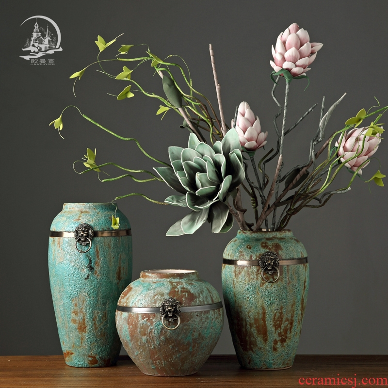 Jingdezhen Europe type restoring ancient ways TV cabinet ceramic vases, the sitting room porch Japanese literary dry flower POTS ornament