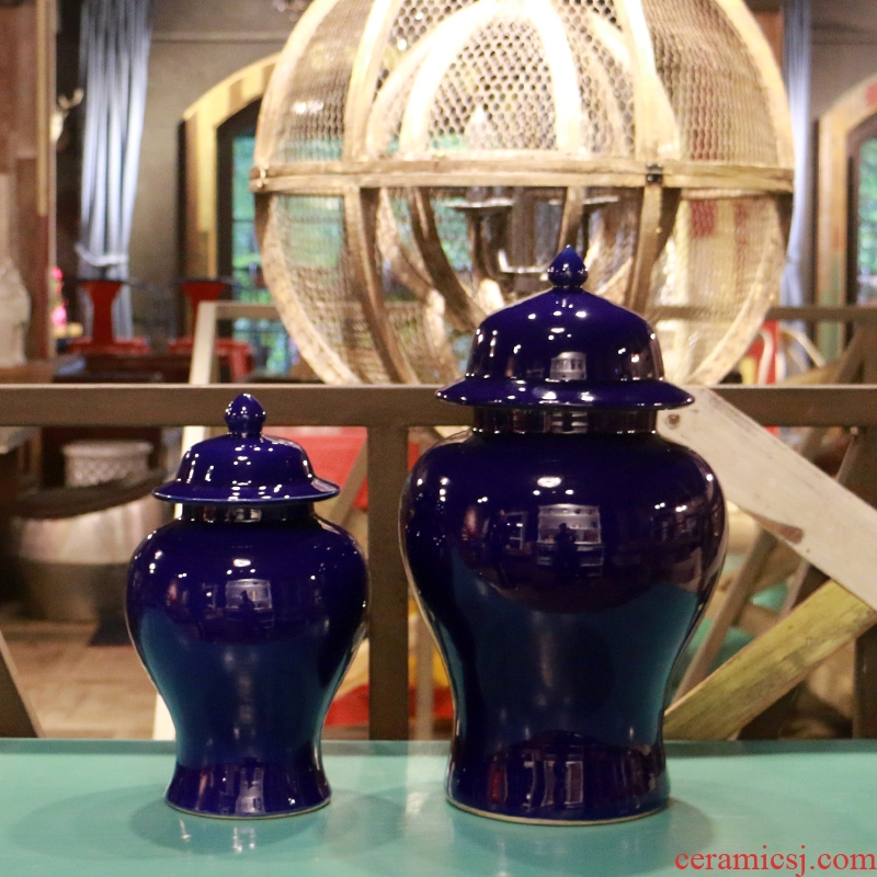 In the geometry space of jingdezhen ceramics single general glaze sapphire blue pot vase is contracted and I and fashionable furnishing articles