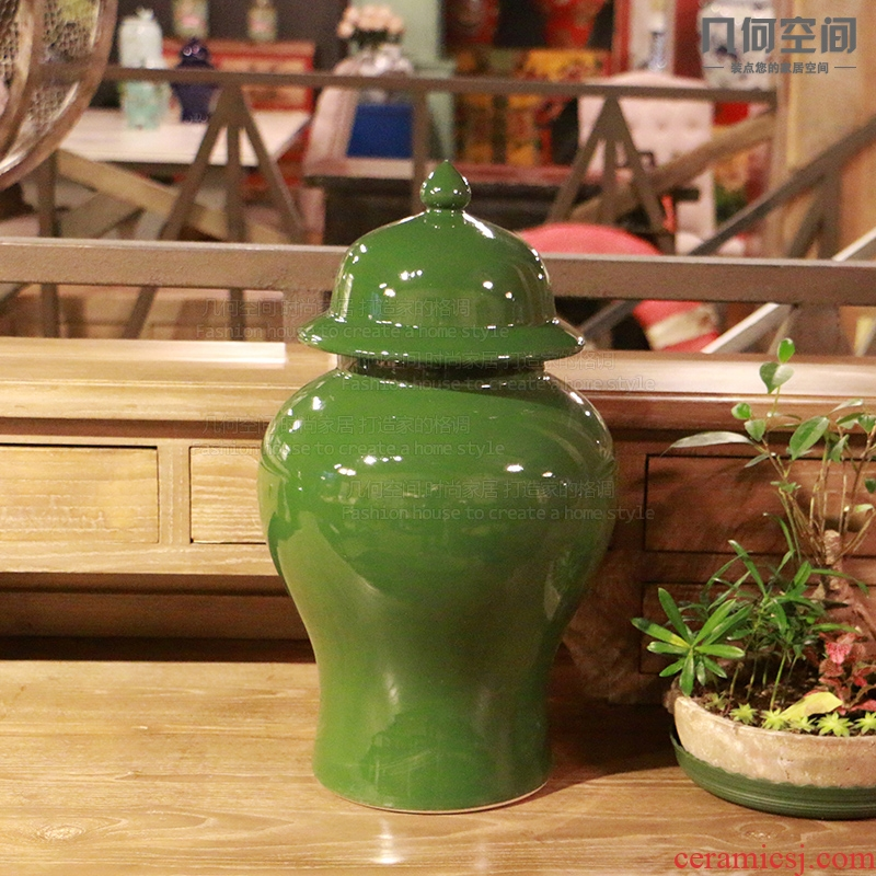 【 】 in the geometry space of single general glaze green ceramic pot vase furnishing articles home decoration soft outfit decoration accessories