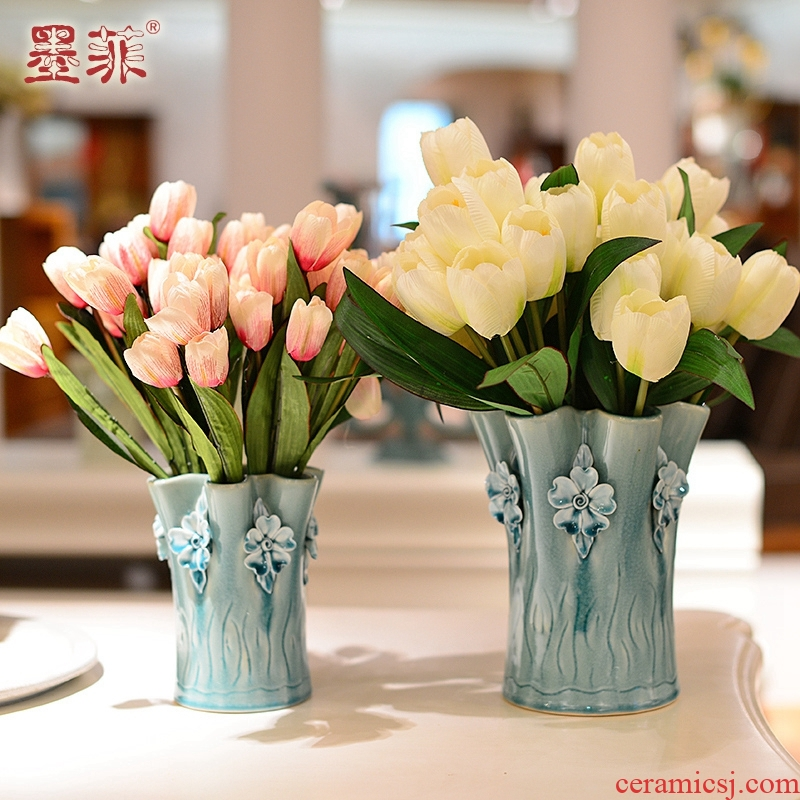 North European checking ceramic creative floret bottle of I and contracted sitting room adornment is placed dry flower simulation flower art flower arranging