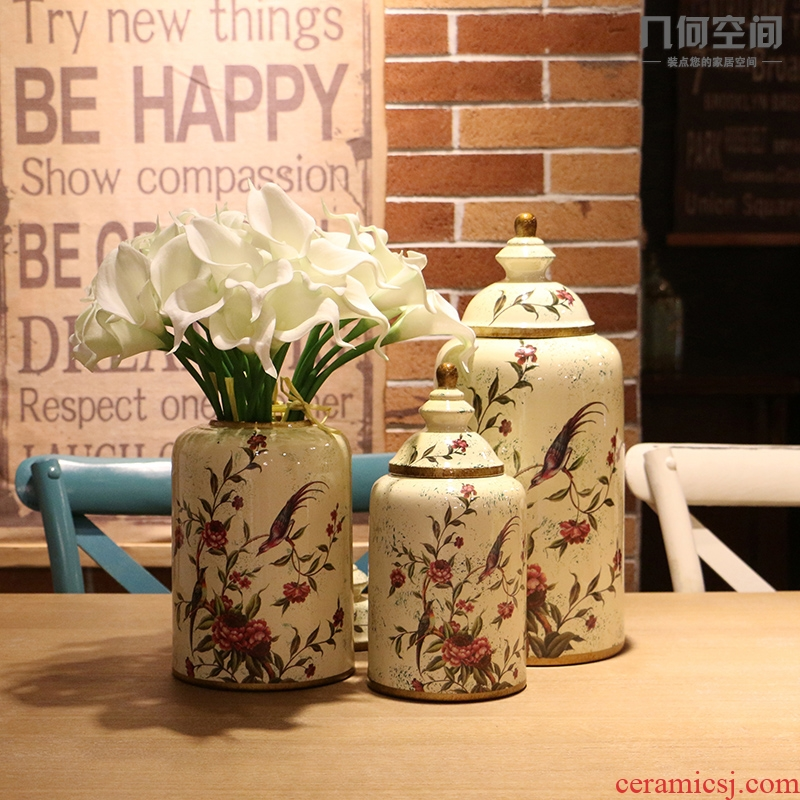 Jingdezhen Europe type restoring ancient ways home furnishing articles American country hand - made do old painting of flowers and pot sitting room soft decoration