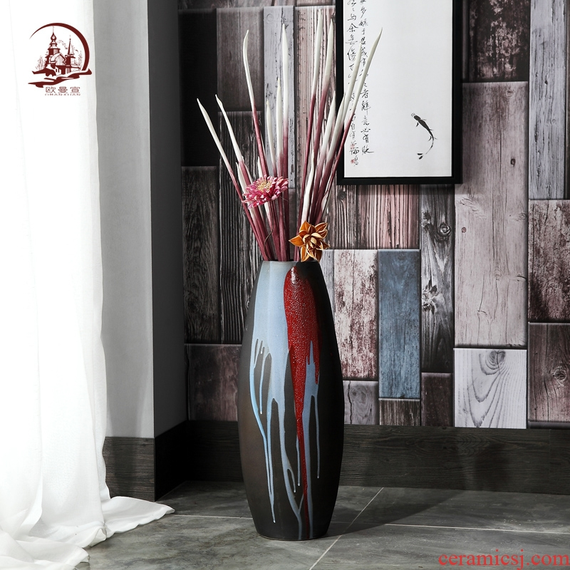 Modern ceramics of large coarse pottery vase creative sitting room is contracted household soft adornment ceramic flower art furnishing articles