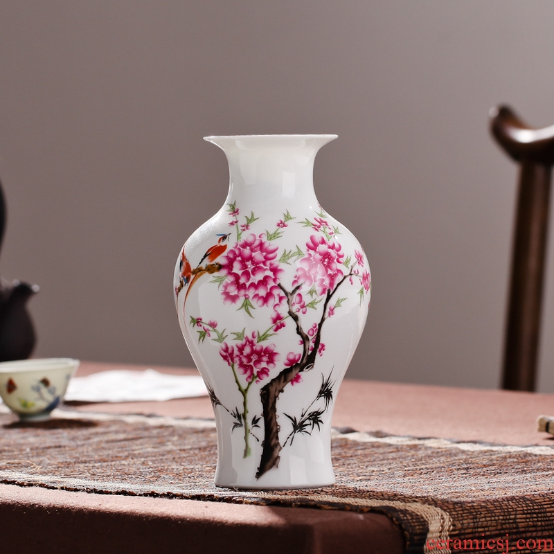 Contracted sitting room packages mailed jingdezhen porcelain vase famille rose porcelain vase modern fashionable household decoration decoration