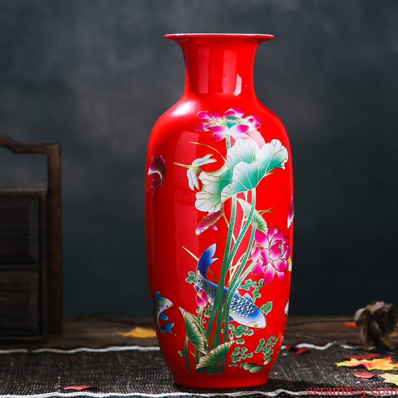 Jingdezhen ceramics China red paint vase vase lotus wedding gifts home handicraft furnishing articles