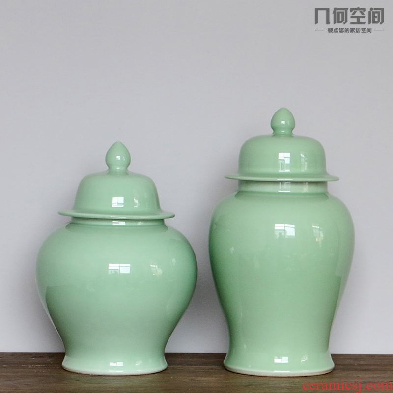 Chinese ceramics glaze ceramic vase in the geometry space decoration flower general pure color pea green as cans furnishing articles