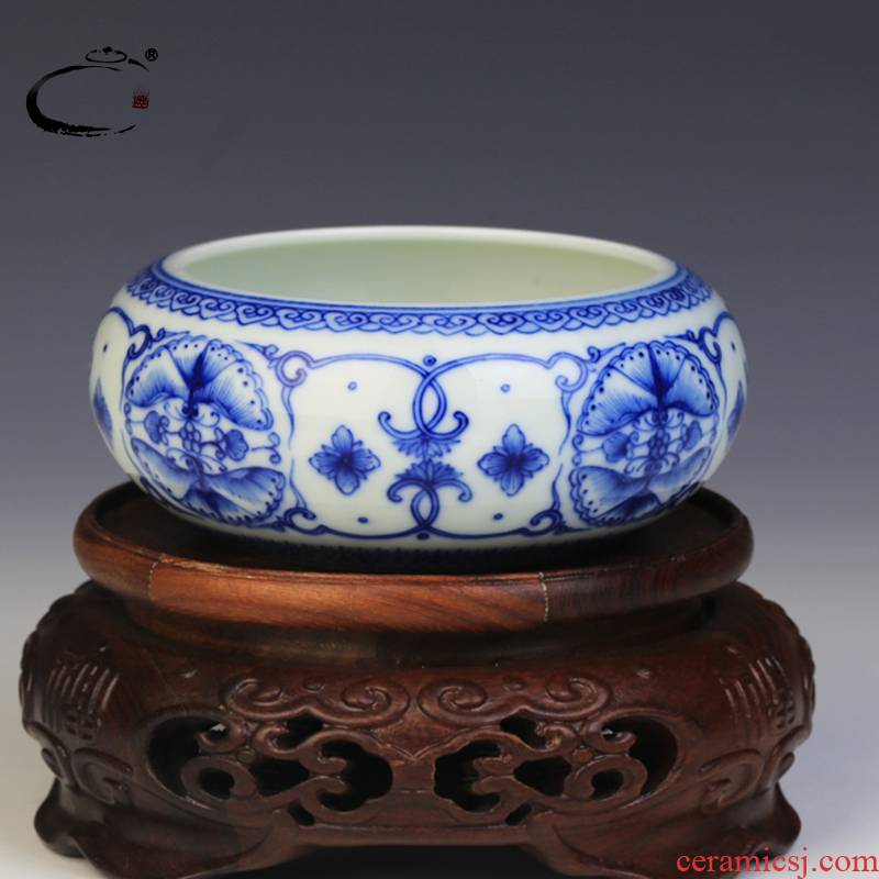 And auspicious jing DE writing brush washer from jingdezhen blue And white ball disc archaize water, after the four treasures of the study supplies a hand - made ceramic large
