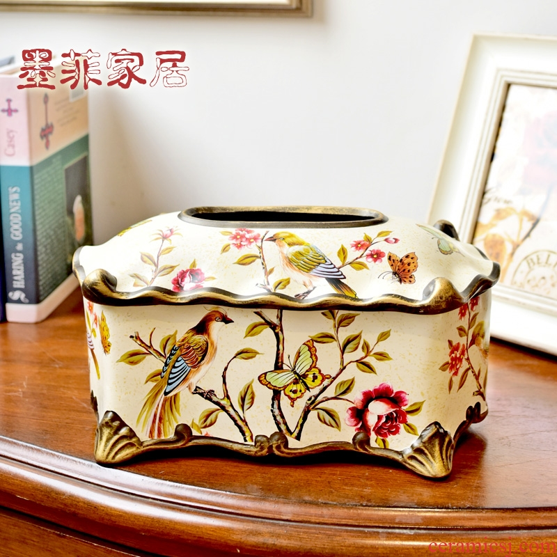 American dining - room of Europe type tissue boxes of new Chinese style household home sitting room tea table napkin with bedroom ceramic smoke box