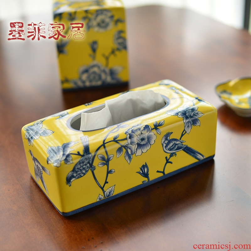 The New Chinese American ceramic tissue box home sitting room dining - room table napkin tissue box decoration box furnishing articles