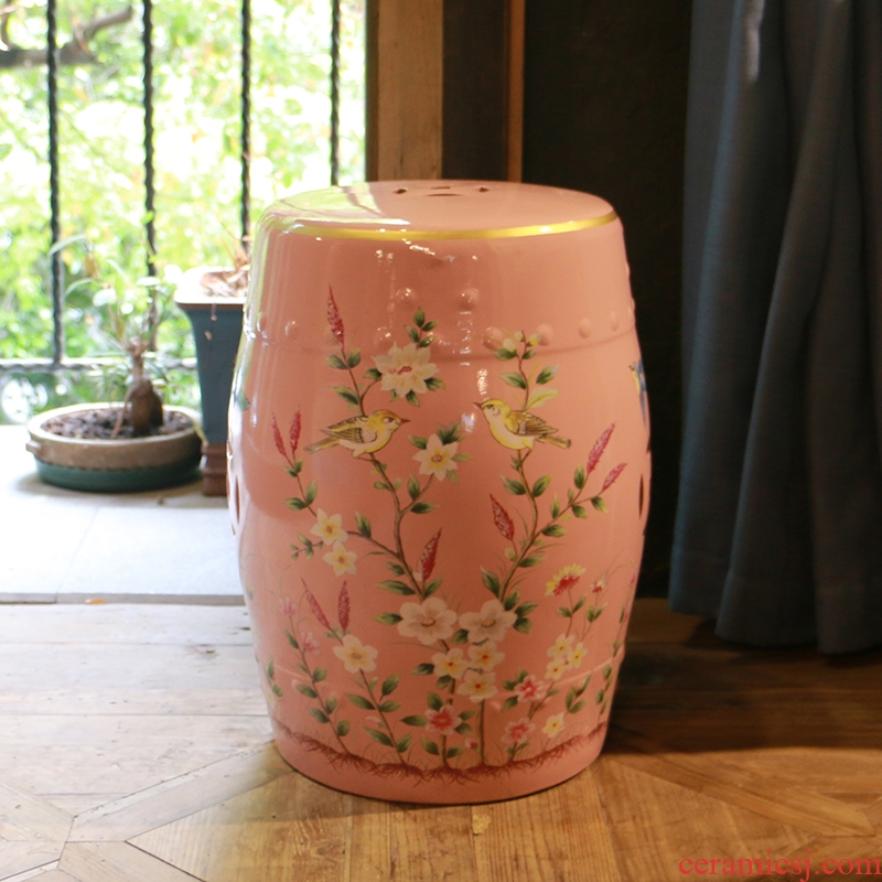 Pink flowers and birds in the geometry space 】 【 ceramic drum who household soft outfit decoration floor furnishing articles of dress rouge birds