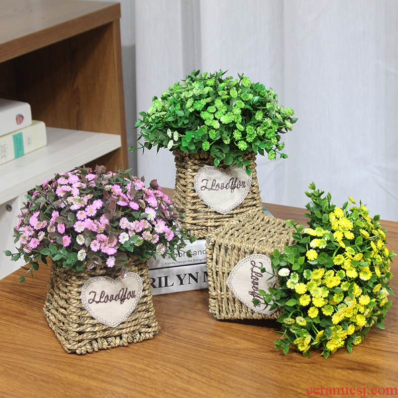 The Send + simulation flowers romantic only beautiful feel all over the sky star, floral suit take false ceramic basin to the living room table decoration