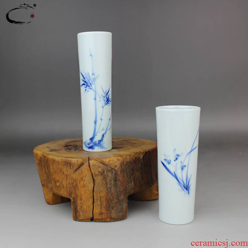 And auspicious jing DE collection receptacle jingdezhen blue And white bamboo hand - made ceramic vase furnishing articles home decoration