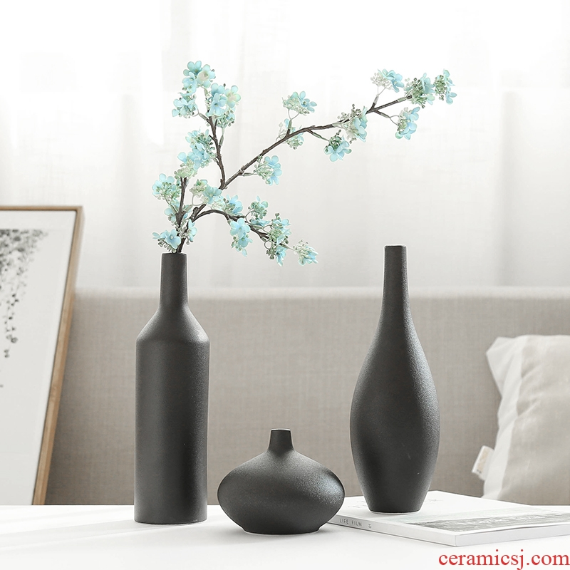 Modern new classical black ceramic vase household act the role ofing is tasted furnishing articles mesa adornment simulation flowers, dried flowers, flower arrangement