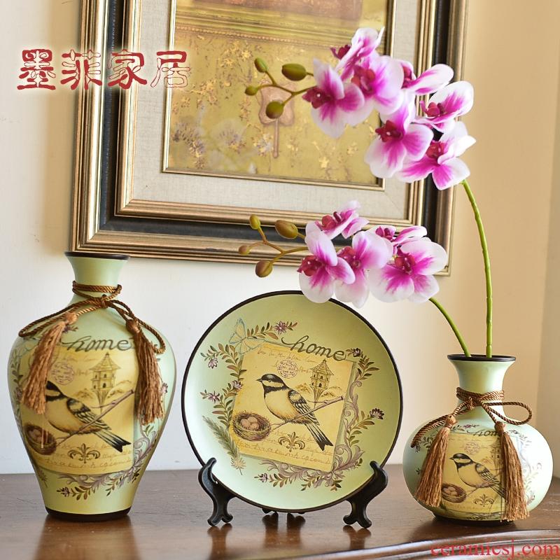 American wine accessories furnishing articles ceramic vase European model room handicraft decoration living room TV cabinet
