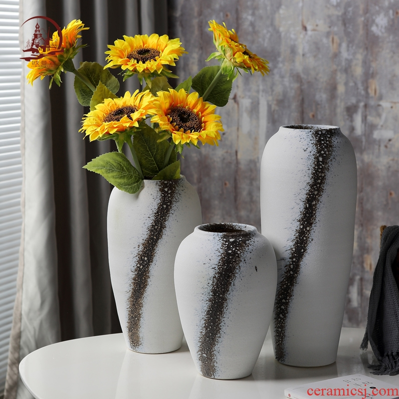 I and contracted white ceramic vases, dried flowers, flower arrangement creative home sitting room TV ark, soft adornment is placed