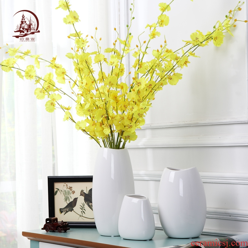 I and contracted ceramic insert white vase creative living room TV cabinet table household decorates porch dried flowers
