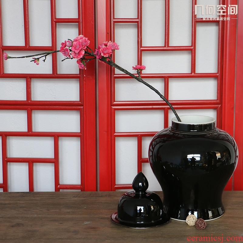 Jingdezhen ceramics decoration vase archaize handicraft furnishing articles sharply glaze general pot cover tanks