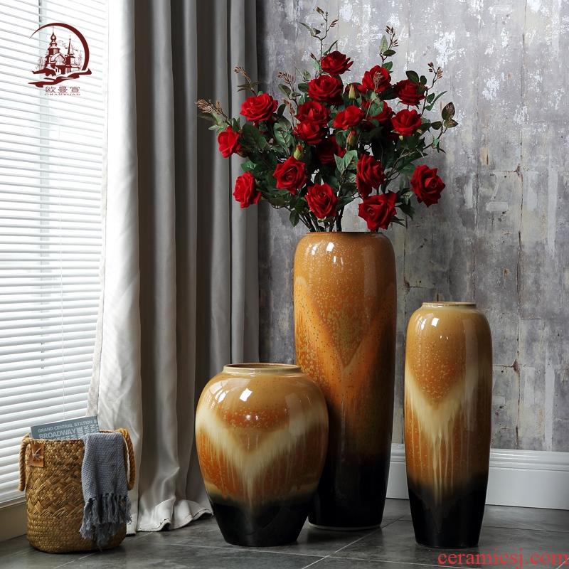 Ceramic vase landing Europe type restoring ancient ways home decoration vase furnishing articles sitting room TV ark of dry flower arranging hydroponics