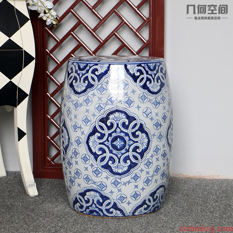 Geometric space hotel restaurant home decoration sitting room floor furnishing articles what blue and white porcelain ceramic who drum who side