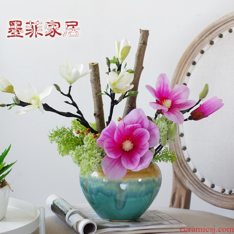 New Chinese style ceramic furnishing articles household act the role ofing is tasted American butterfly orchid simulation soft floral suit sitting room adornment ornament