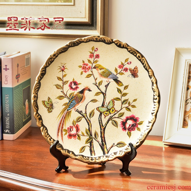 American Chinese style restoring ancient ways ceramic plate plate furnishing articles home sitting room adornment rich ancient frame bookshelf handicraft take the position