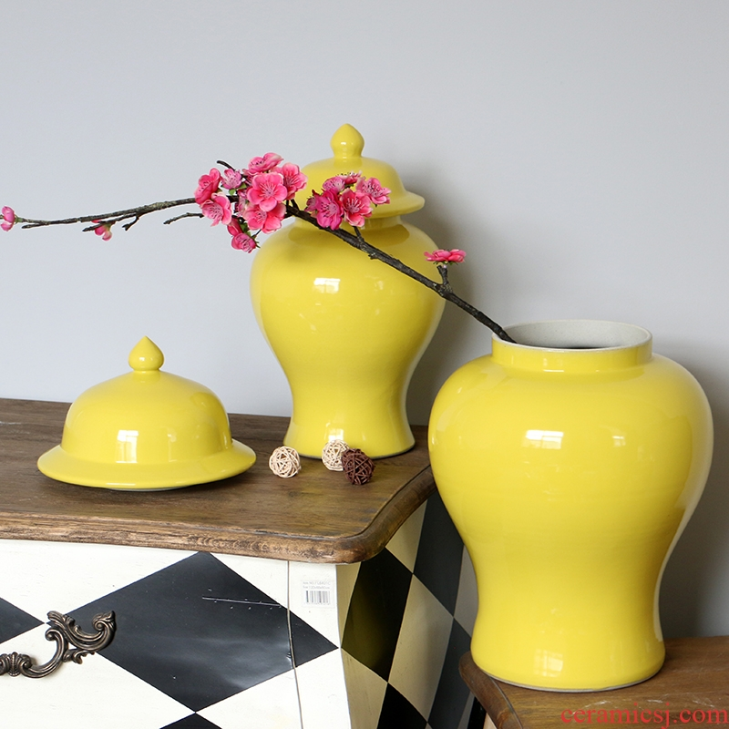 Jingdezhen ceramics lemon yellow the general pot of single glaze vase, flower, flower receptacle household soft adornment is placed
