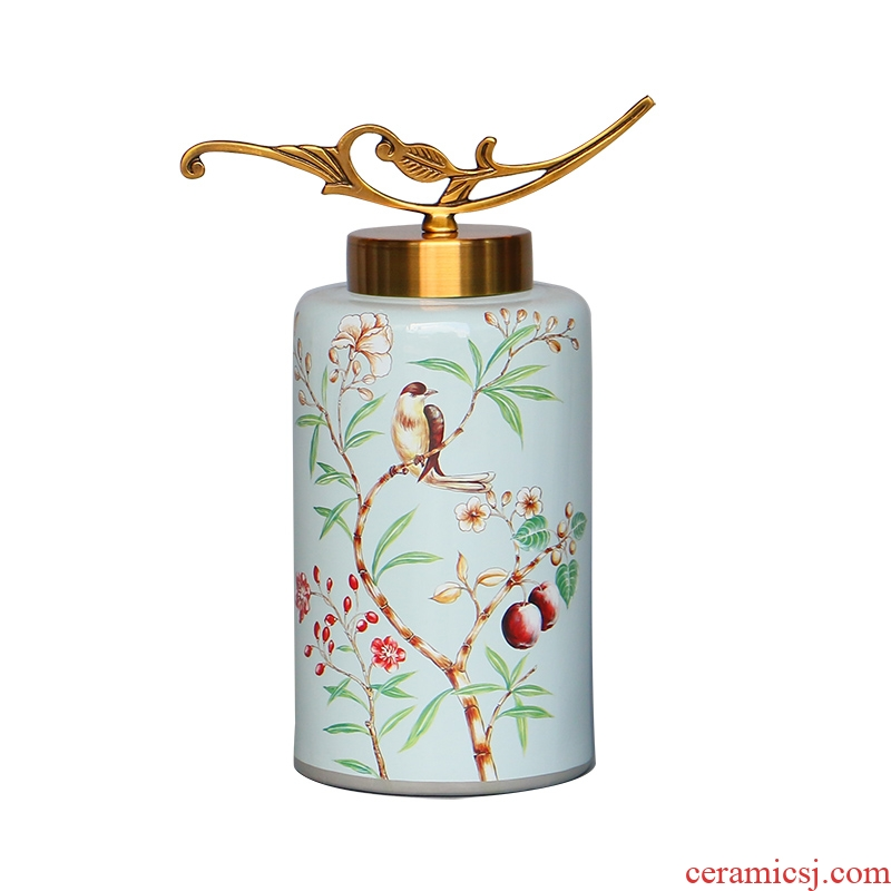 New Chinese style metal cover flower decoration storage tank neo - classical European porch ark, soft outfit ceramic creative furnishing articles