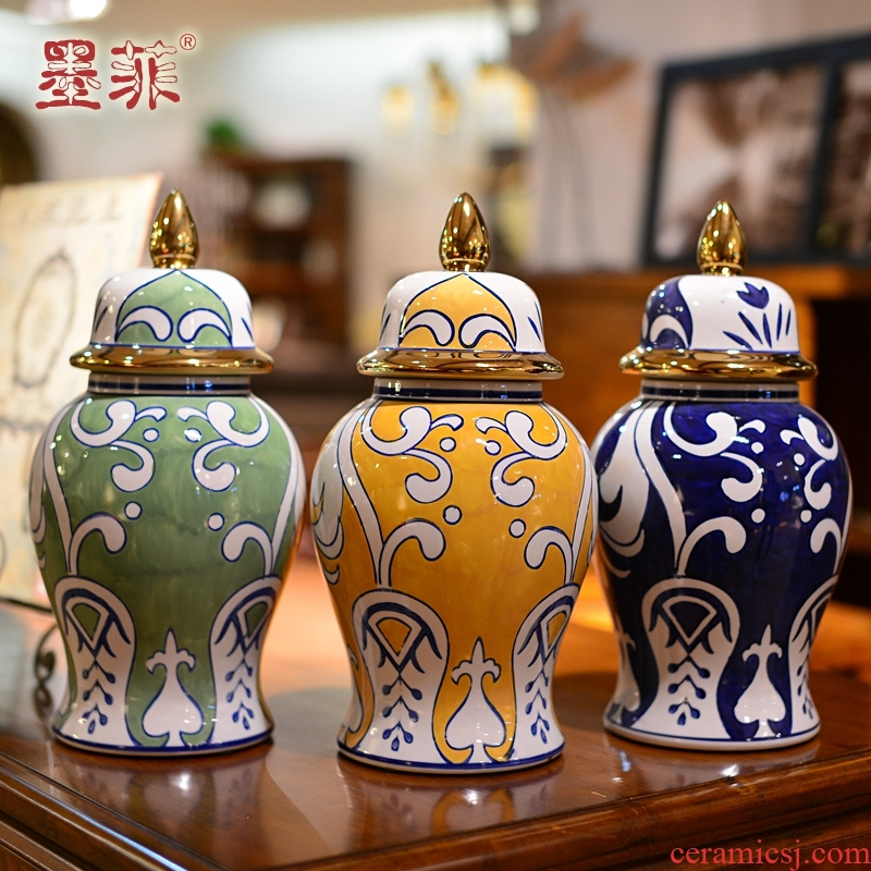 New Chinese style light much general tank furnishing articles jingdezhen porcelain example room living room TV cabinet decoration decoration