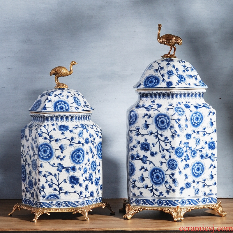 Spend the fox new Chinese blue and white porcelain with general copper pot sitting room porch TV ark, decoration furnishing articles