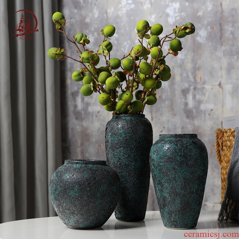 Ceramic vase manually restoring ancient ways do old coarse pottery contracted and I living room table dry flower adornment furnishing articles