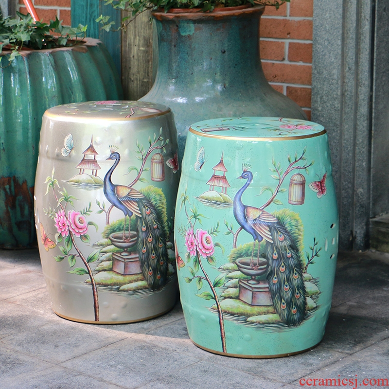 【 】 in the geometry space peacock ceramic drum who modern Chinese style household creative fashion sitting room floor furnishing articles
