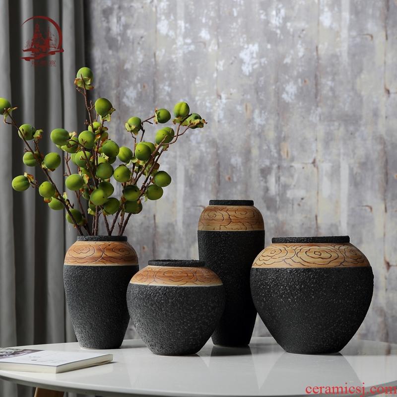 Jingdezhen ceramic big vase furnishing articles creative living room furniture restoring ancient ways is the dried flower arranging coarse pottery decoration decoration
