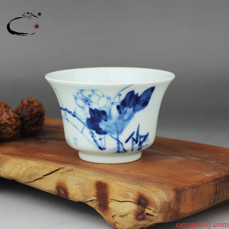 And auspicious lotus cup blue freehand brushwork in traditional Chinese kung fu tea cups of jingdezhen ceramic checking sample tea cup masters cup