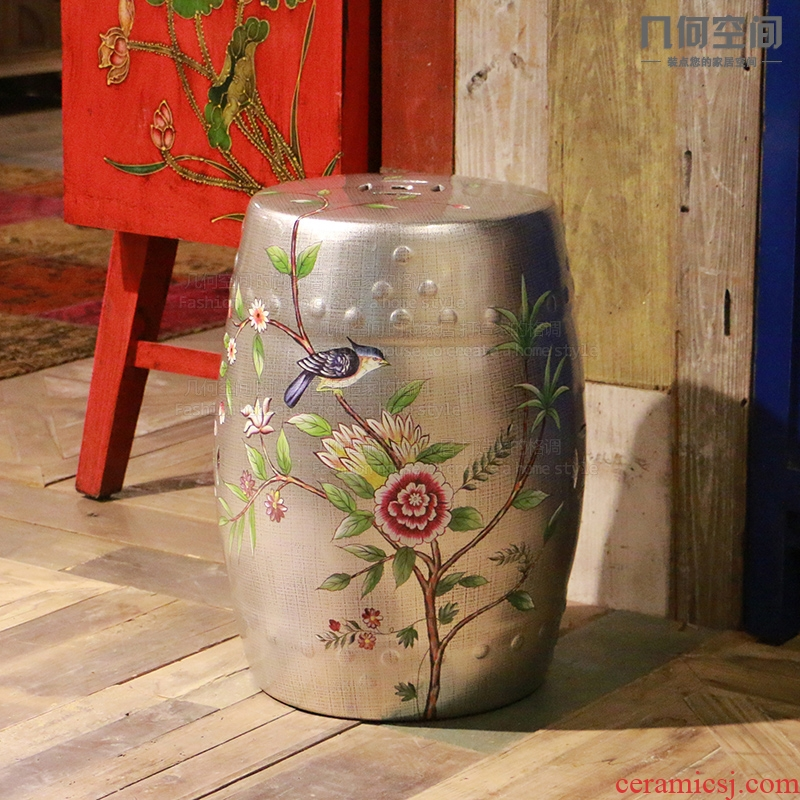【 】 in the geometry space American country do old silver ceramic drum who home sitting room decorates stylist big furnishing articles