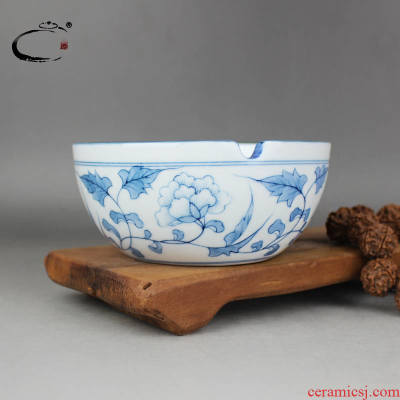 Restoring ancient ways and auspicious jingdezhen checking ceramic ashtray large hand - made porcelain ashtrays home furnishing articles ornaments