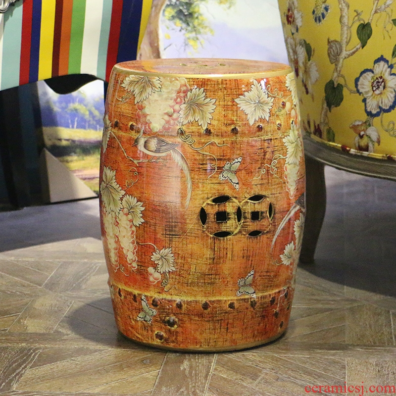 Flowers and birds in the geometry space 】 【 ceramic drum who sitting room of large modern Chinese style restoring ancient ways do old furniture furnishing articles