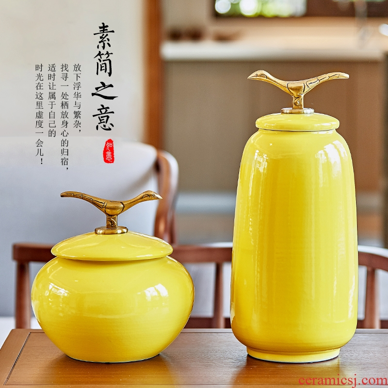 Storage tank of pottery and porcelain vase furnishing articles of the new Chinese style household soft adornment example room sitting room TV ark, practical porcelain