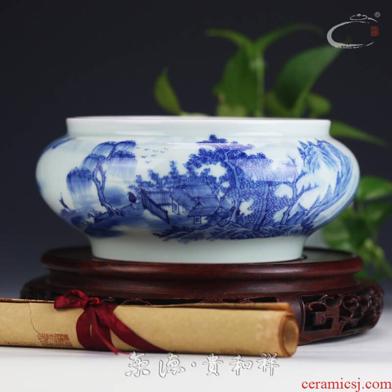 Beijing auspicious jingdezhen ceramics by hand with DE and kung fu tea accessories blue and white painting landscape tea cups to wash to wash to wash