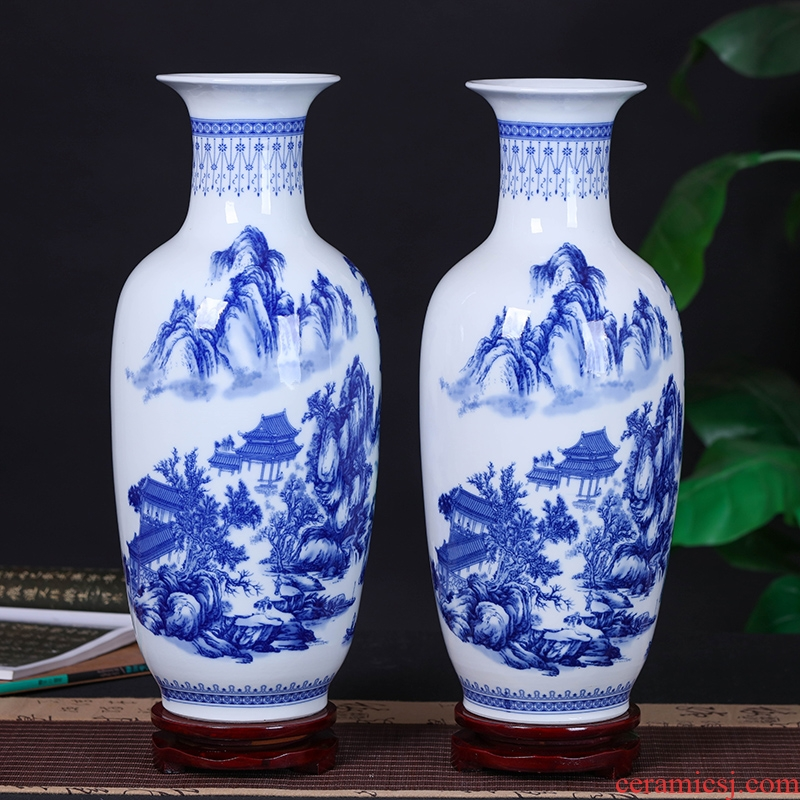 Jingdezhen ceramic vases, blue and white porcelain vases, flower arrangement and modern Chinese style household, sitting room adornment handicraft furnishing articles