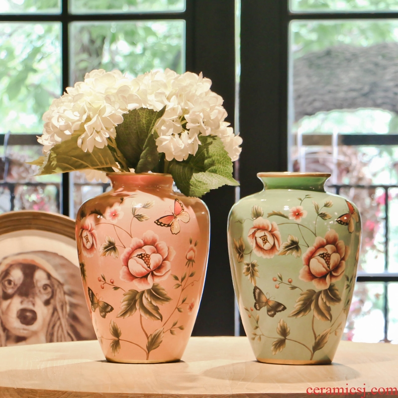 American country butterfly spring buds ceramic vase Europe type restoring ancient ways is the living room table dry flower, flower art flower arranging furnishing articles