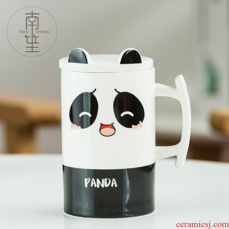 Nan sheng ceramic glass mugs creative cartoon panda cup pure and fresh and lovely move household with cover