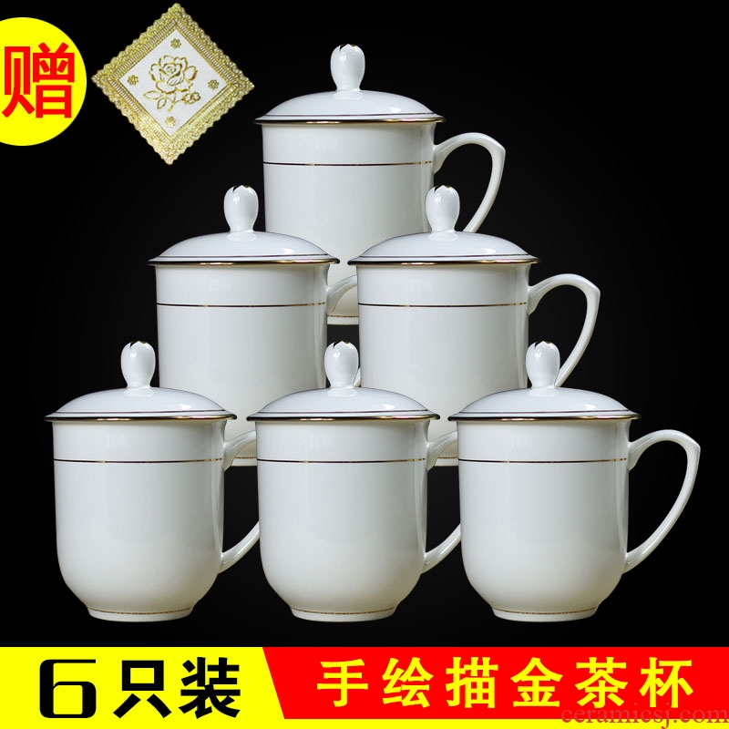 Jade butterfly jingdezhen ceramic cups with cover ipads porcelain cup cup gift household glass six office meeting