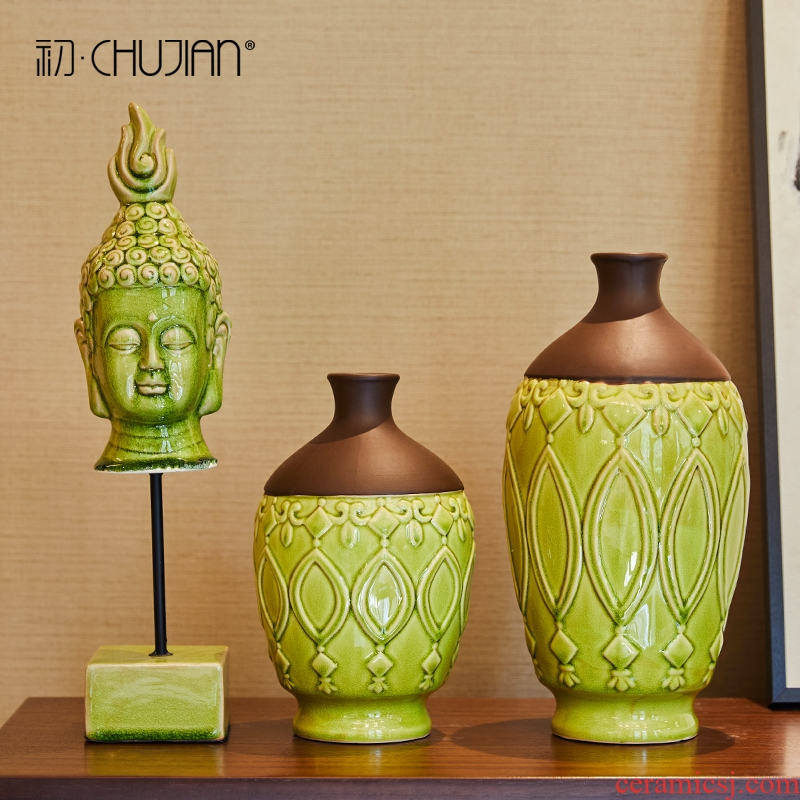 New Chinese style furnishing articles three - piece ceramic Buddha vase household soft outfit sitting room porch zen decoration decoration restoring ancient ways