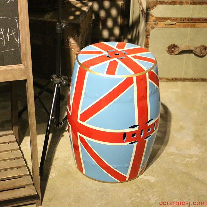 American style hand - made ceramic drum who British union jack wind household adornment what sitting room sofa edge furnishing articles