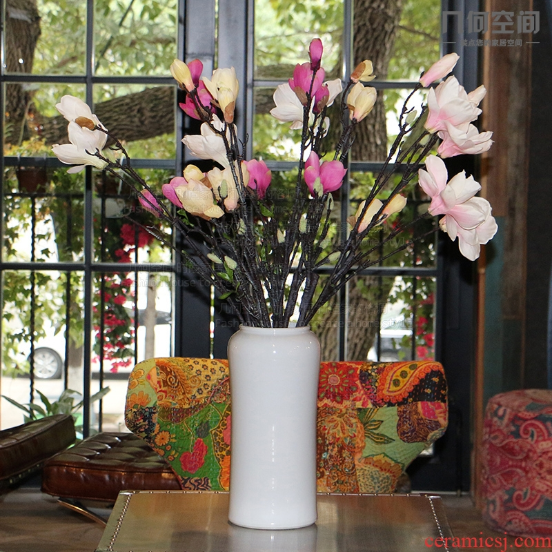 【 】 in the geometry space of single glaze cylindrical tall vases, flower implement contracted and I household adornment soft outfit ceramic furnishing articles