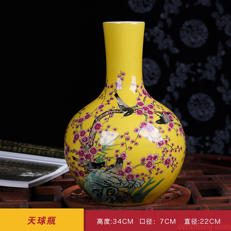 Jingdezhen ceramics hand - made famille rose porcelain vase of modern Chinese style home sitting room adornment is placed decorations