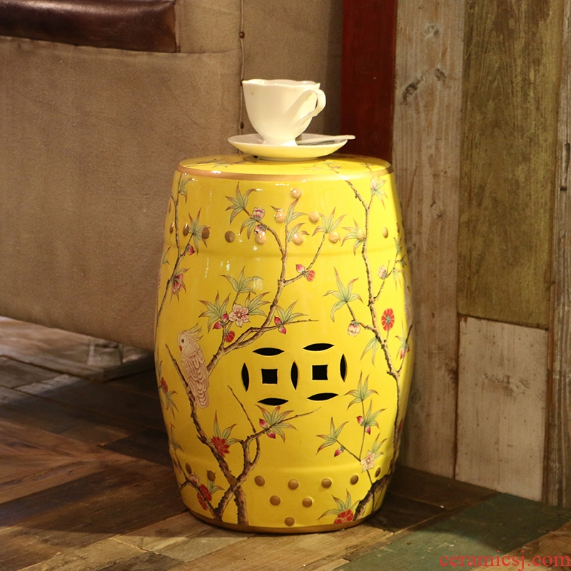 American country new Chinese painting of flowers and the parrot ceramic drum who household act the role ofing is tasted home furnishing articles housewarming gift