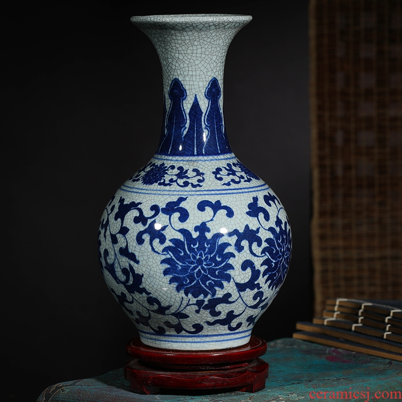 Jingdezhen ceramic vase furnishing articles sitting room flower arranging up antique blue and white porcelain vase decoration home decoration restoring ancient ways